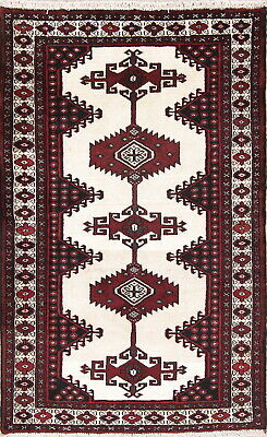 Charming 3x5 Hand-Knotted Ivory Geometric Bokhara Pakistan Oriental Wool Rug