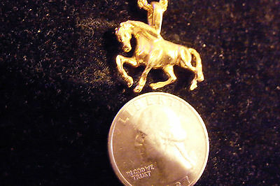 bling gold plated horse fashion pendant charm necklace rodeo rsce show jewelry