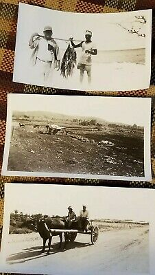 1944 WW2 Battle of Saipan 3 Original Photos Saipan Natives Fishermen Donkey Cart