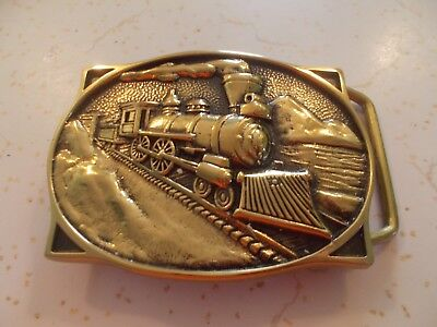 Train Solid Brass By Bts Mens Belt Buckle 1983 Made In Usa