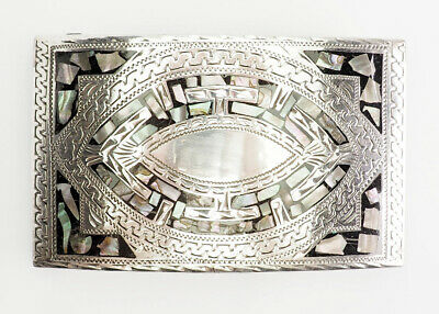 Vintage sterling silver inlaid mother of pearl belt buckle by VHLC Mexico