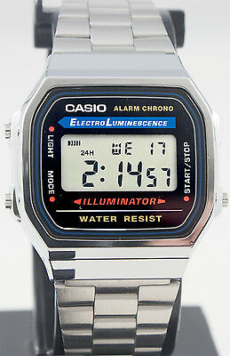 Casio A168WA-1 Men's Stainless Steel Digital Alarm Stopwatch Watch New