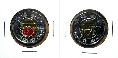 Canada 2018 Armistice Colourized & Regular Toonie BU Set From Mint Roll!!