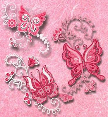 BUTTERFLIES CORNERS SOFT 10 MACHINE EMBROIDERY DESIGNS CD or USB