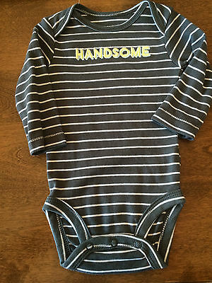 NEW Carters Baby Boys Handsome Long Sleeve Stripe Shirt Bodysuit 0 3 Month