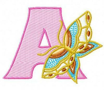 BUTTERFLY ALPHABET 10 MACHINE EMBROIDERY DESIGNS CD or USB