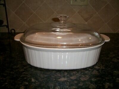 Corning Ware French White Oval Open Roaster Pan Covered Casserole 4 Qt Dish F14B