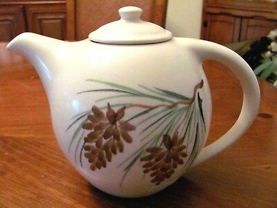 2003 Emerson Creek Pottery Usa Hand Painted Pinecone Tea Coffee Pot Mint