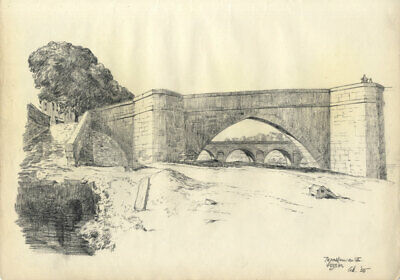 Austin Blomfield - 1955 Charcoal Drawing, Dordogne