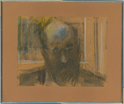 Peter Collins ARCA - Signed and Framed 1980 Charcoal Drawing, Self Portrait