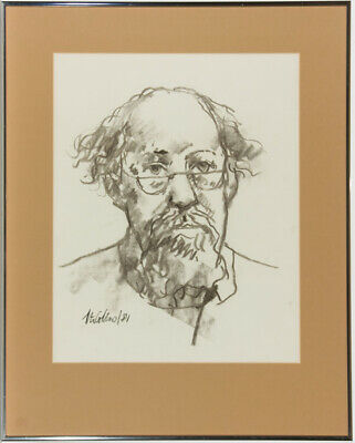 Peter Collins ARCA - Signed and Framed 1981 Charcoal Drawing, Self Portrait