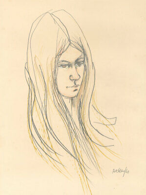 Peter Collins ARCA - Signed and Dated 1969 Graphite Drawing, Portrait Study