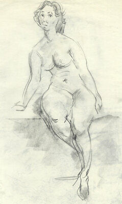 Peter Collins ARCA - Fine c.1970s Charcoal Drawing, Seated Nude