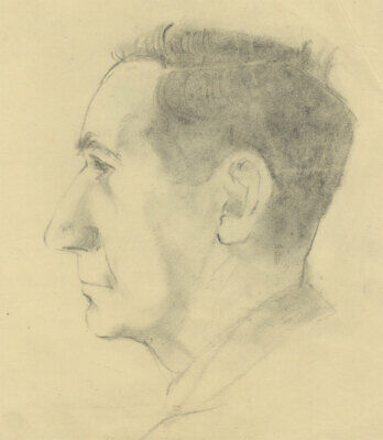 Peter Collins ARCA - c.1970s Charcoal Drawing, Profile Portrait of a Man