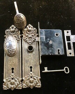 Vtg Victorian Cast Iron Key Hole Door Knob Backplate Set Y&T Yale Town Pasco 509