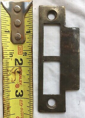 (1) One Antique Double Opening Mortise Lock Strike Plate Keep Keeper Part Lot #2