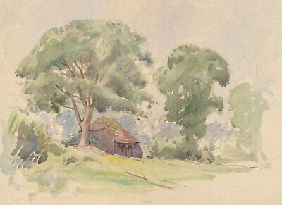 Mid 20th Century Watercolour - Landscape with Oak Trees
