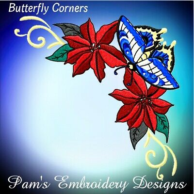 BUTTERFLY CORNERS 10 MACHINE EMBROIDERY DESIGNS CD or USB