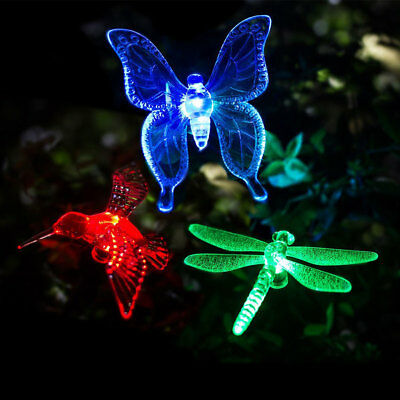 JT_ Color-Changing LED Solar Dragonfly Butterfly Light Lamp Garden Home Decor
