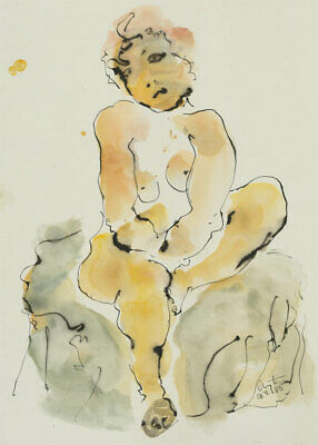 Inge Clayton FRSA (1942-2010) - Signed 1985 India Ink, Expressive Nude