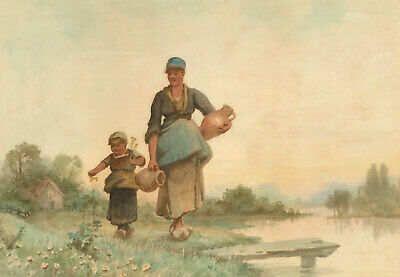 A. Poisson - 19th Century Watercolour, Dutch Mother and Child