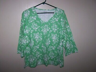 ad21ab2e76a Women s BLAIR 3 4 Sleeve Floral Tunic Top Size XL EUC Green white Floral V
