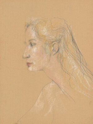 Peter Collins ARCA - c.1970s Pastel, Profile of a Woman