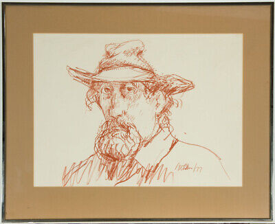 Peter Collins ARCA - Signed and Framed 1977 Pastel, Self Portrait of the Artist
