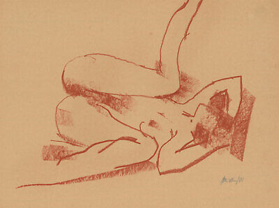Peter Collins ARCA - Signed 1980 Pastel, Expressive Depiction of a Nude