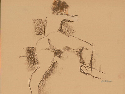Peter Collins ARCA - Signed 1980 Crayon, Nude Study