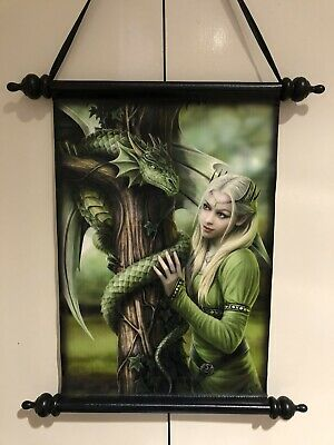 """Anne Stokes Scroll Wall Hanging Wall Art """"Kindred Spirits"""" Gothic Fairy"""