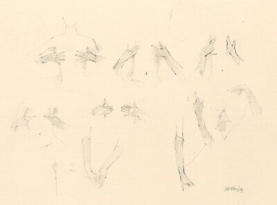 Peter Collins ARCA - Signed 1974 Graphite Drawing, Studies of Hands