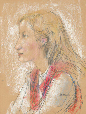 Peter Collins ARCA - Signed 1980 Crayon, Portrait of a Blonde Lady