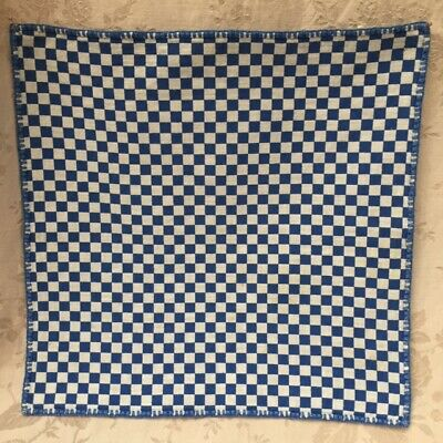 Joli TISSU VINTAGE 1950 Napperon ou Serviette Brodé Main CAFE CHECK WHITE/BLUE