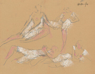 Peter Collins ARCA - Signed 1979 Crayon and Graphite, Figure Studies