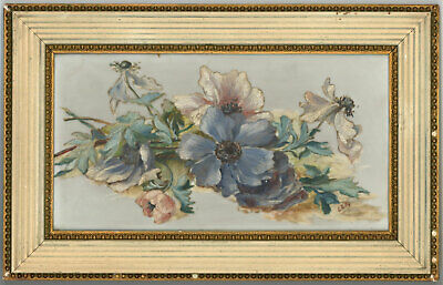 Pair of 19th Century Oil on Glass Paintings - Floral Studies