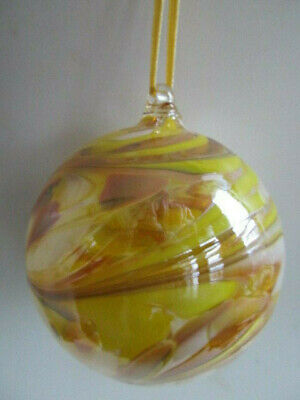 Glass Mouth Blown Spirit of Friendship Ball Honey/Jasmine Swirls 8cm Boxed Gift