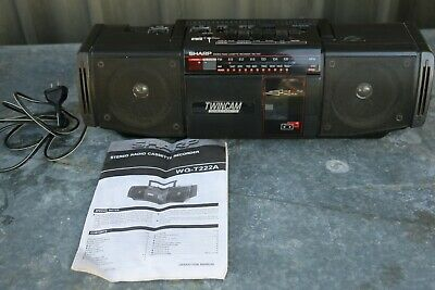 VINTAGE SHARP WQ-T2222A STEREO RADIO TWIN CASSETTE RECORDER + Instructions