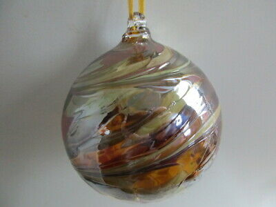 Glass Mouth Blown Spirit of Friendship Ball Ocre / Beige Swirls 8cm Boxed Gift