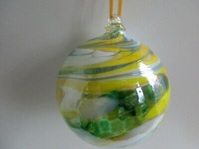 Glass Mouth Blown Spirit of Friendship Ball Lemon/Lime 8cm Boxed Gift