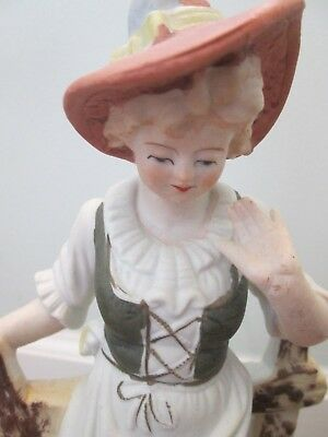 Pair Vintage Bisque Boudoir Table Lamps Country French Figures - Finely Detailed