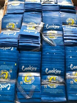 Cookies 3.5g SMALL Mylar Bags. Blue & Yellow Style. Cali Bags x 50