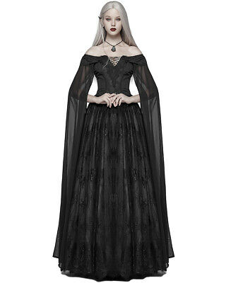 6b2a5530f02 Punk Rave Gothic Wedding Dress Long Black Lace Witch Steampunk Victorian  Prom