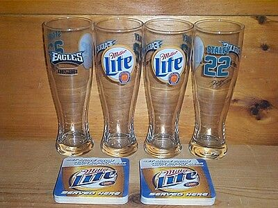 Miller Lite Eagles #22 Staley 4 Signature Beer Pint Glasses & Bar Coasters New