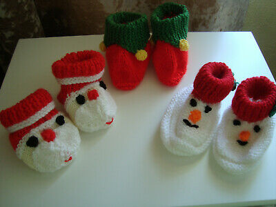 Hand Knitted Baby Booties Slippers - Xmas - Santa, Elf or Snowman approx 0-6 mth