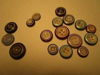 Lot of 16 Antique CHINA RINGER Buttons colors are Blue Green Red Brown $4Ship
