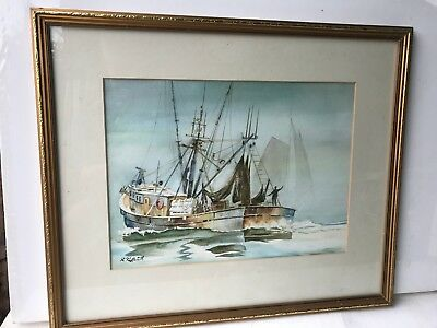 """STUNNING FRAMED WATER COLOUR POLDARKS CORWALL FISHING BOATS SIGNED 21 x18"""""""