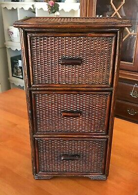 Old Chinese Asian 3 Drawer Chest Bamboo Wood Woven Cane Tabletop Cabinet Box