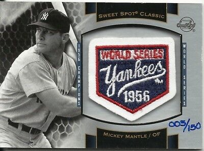 Mickey Mantle 2003 Sweet Spot Classic Commemorative Ws Yankees Patch Sp # 5/150