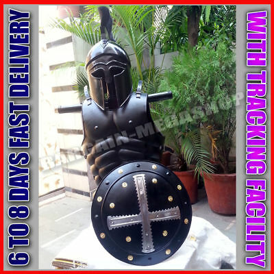 Halloween Corinthan Helmet Medieval & Viking Iron Shield W/ Muscle Jacket Collec